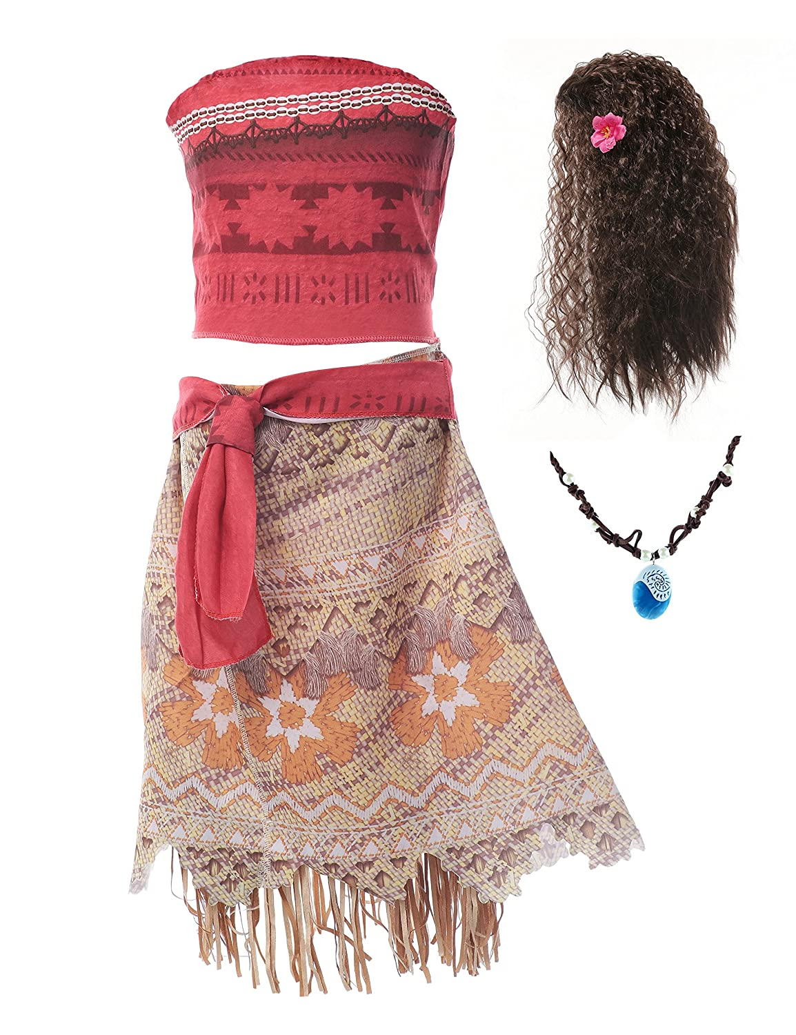 MUABABY Moana Girls Adventure Outfit Cosplay Costume Skirt Set with wig and Necklace MD-H01