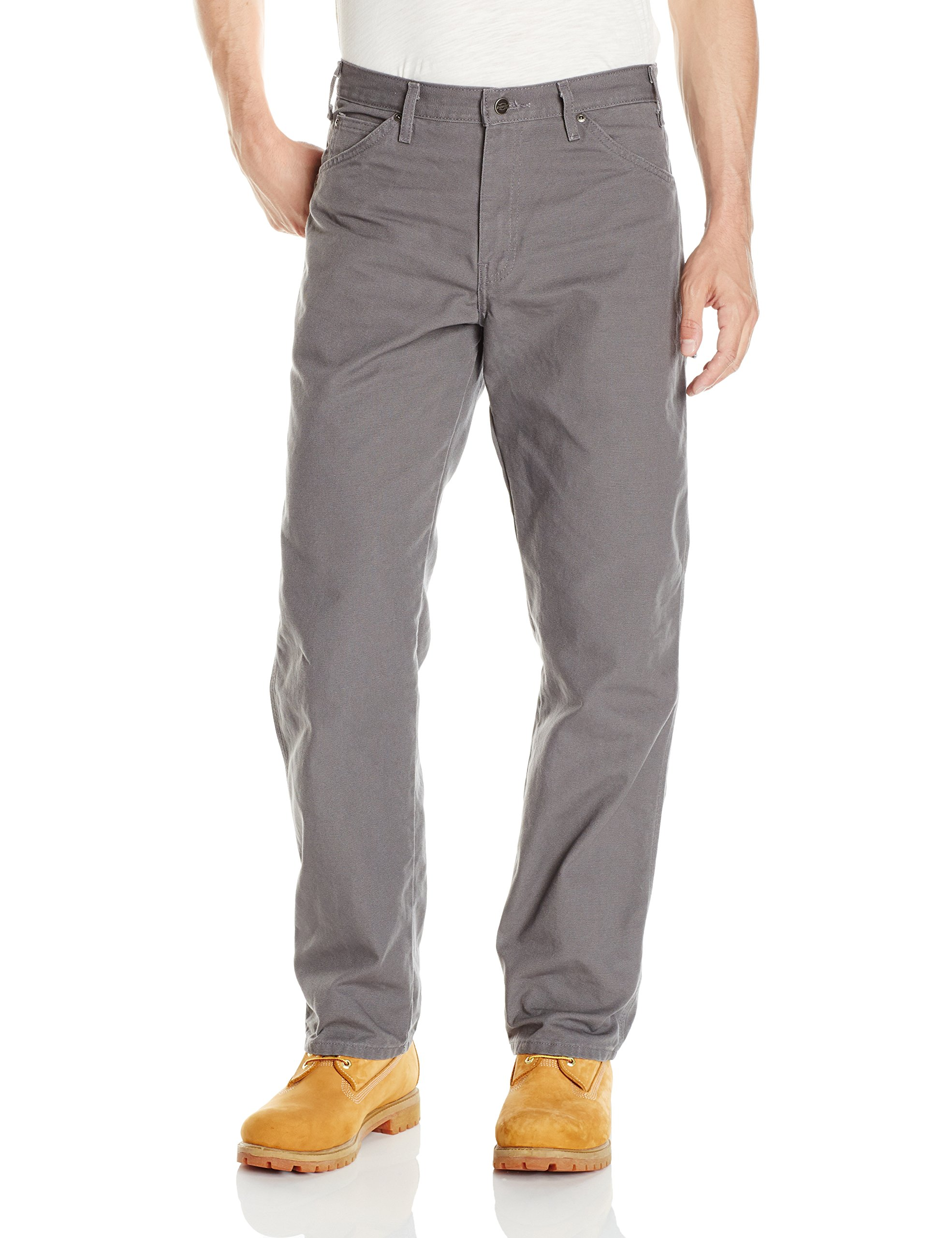 Dickies Men's Relaxed Fit Straight-Leg Duck Carpenter Jean, Slate, 34W x 32L
