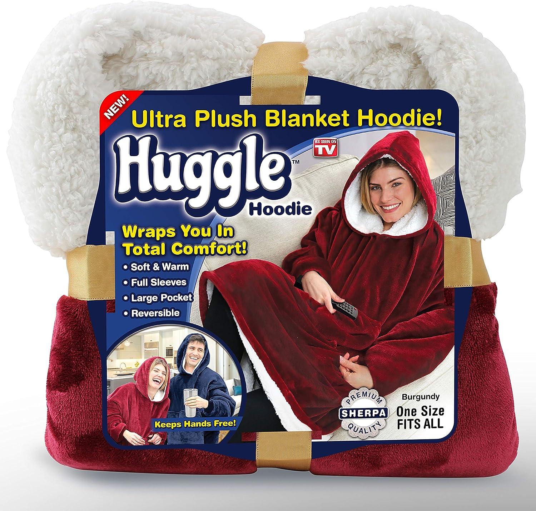 Ontel Huggle Hoodie | Hooded Robe, Spa, Bathrobe, Sweatshirt, Fleece, Pullover, Blanket, Mens, Womens | As Seen on TV (Burgundy)