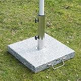Pied / Base de parasol granite gris poignée et roulettes compatible diamètres 34 / 38 / 48 mm 17