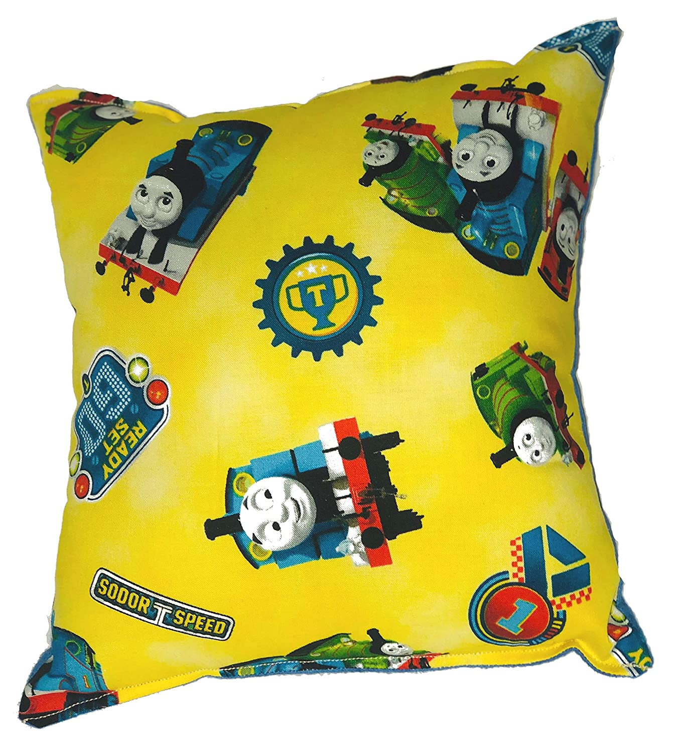 "Thomas The Tank Engine Pillow Thomas The Train Pillow Yellow HANDMADE In USA NEW Pillow is approximately 10"" X 11"