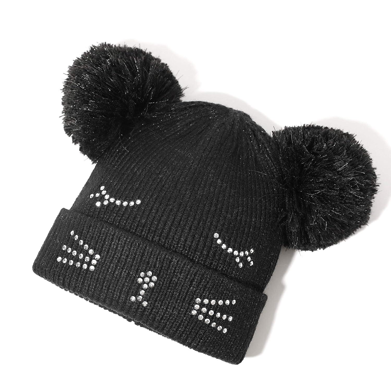 Women Girl Kid Winter Crochet Knitted Beanie Hat Fluffy Cat Ear Pom Ski Snow Cap