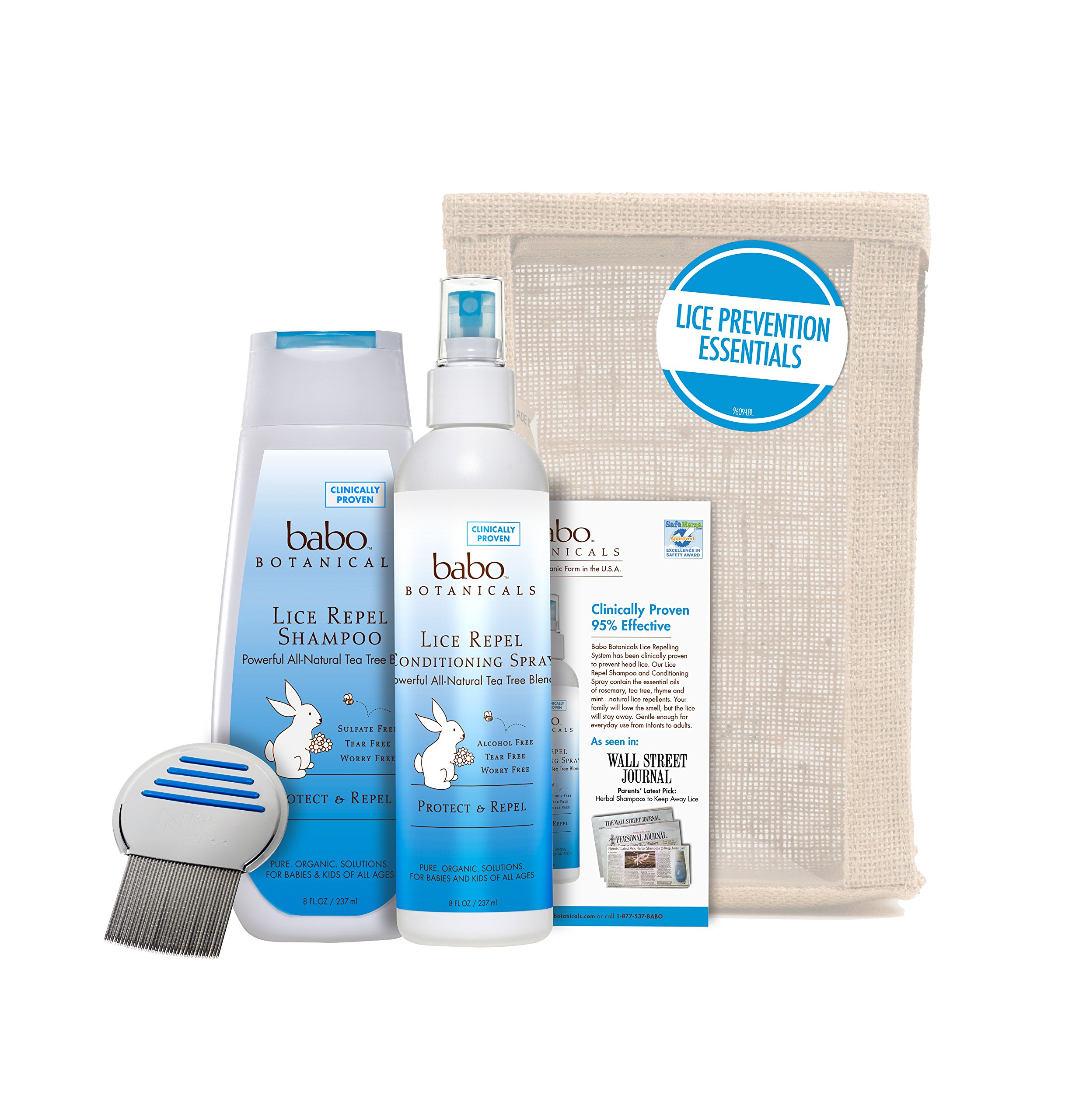 Babo Botanicals Essential Lice Prevention Set with Lice Comb, 16 Ounce by Babo Botanicals