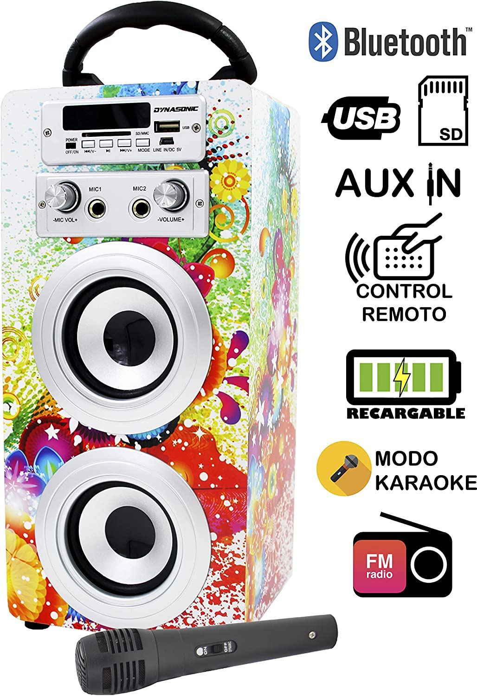 DYNASONIC - Altavoz Bluetooth con Karaoke 10W   Reproductor mp3 Inalámbrico Portátil, Lector USB SD, Radio FM - Modelo 1