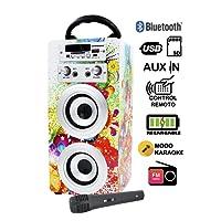 DYNASONIC Mod025 altoparlante Bluetooth – Karaoke di motivo con microfono (Modello 1)