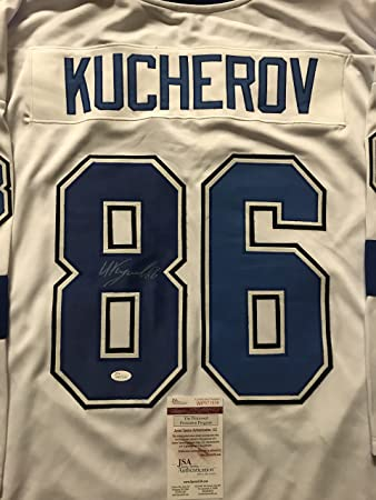32e64292a Autographed Signed Nikita Kucherov Tampa Bay White Hockey Jersey JSA COA  2