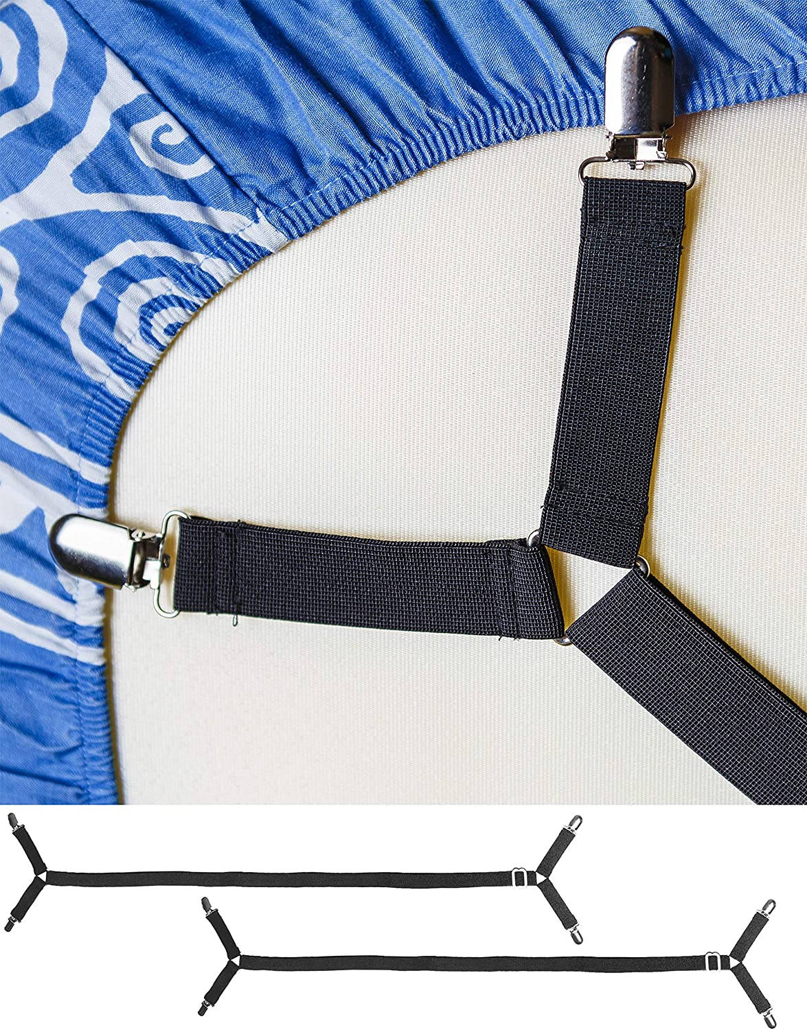 FeelAtHome Bed Sheet Holder Straps Criss-Cross - Pack of 2 Bedsheet Straps Suspenders - Grippers Fasteners Hold Bedsheets in Place - Adjustable Elastic Clips Garters - Fitted Flat Mattress Corners: Home & Kitchen