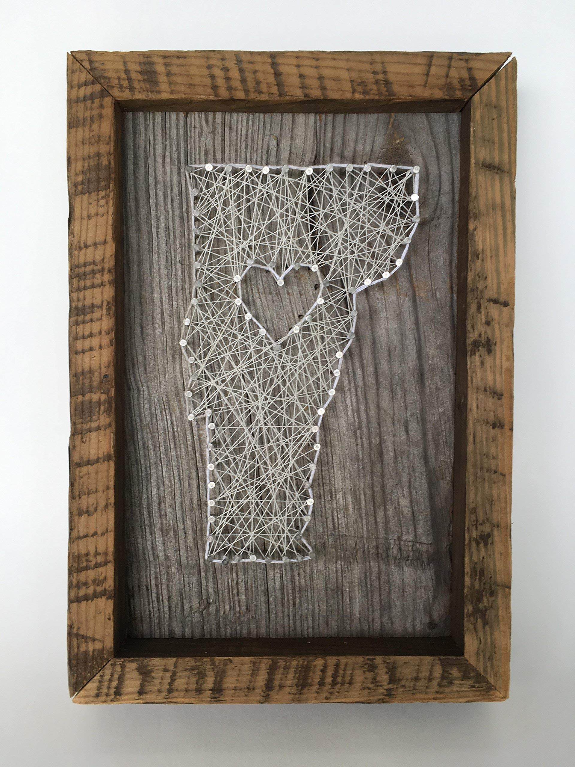 Framed Vermont love, reclaimed wood string art sign - A unique Mother's Day, Father's Day, Wedding, Anniversary,House Warming, Birthday,Valentine's Day and Christmas gift