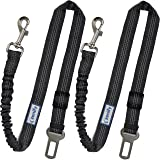 Zenify Dog Car Seat Belt Extendable Leash (2 Pack) - Bungee Lead for Dogs Puppies - Pet Adjustable Elastic Seatbelt…