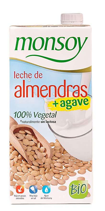 Monsoy - Bebida Ecológica de Almendras con Agave - Caja de 4 x 1L