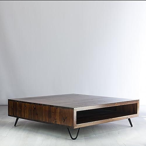 Vintage Retro Low Box Coffee Table Metal Hairpin Legs Height