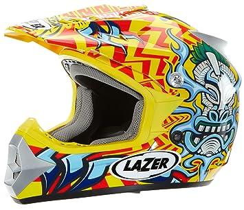Lazer X6 Junior Casco de Motocross para Niños, Tiki Amarillo/Azul, XS