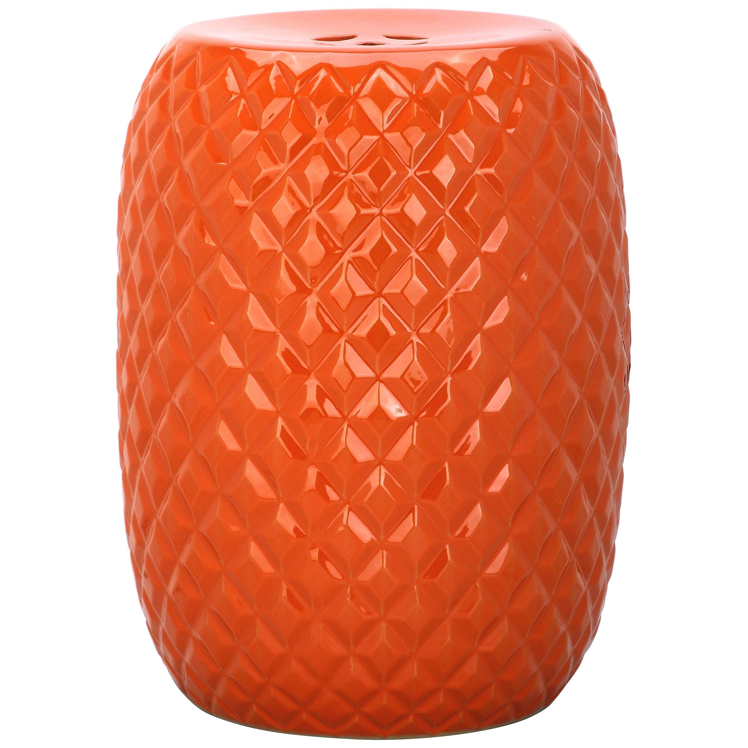 Safavieh Castle Gardens Collection Calla Orange Glazed Ceramic Garden Stool