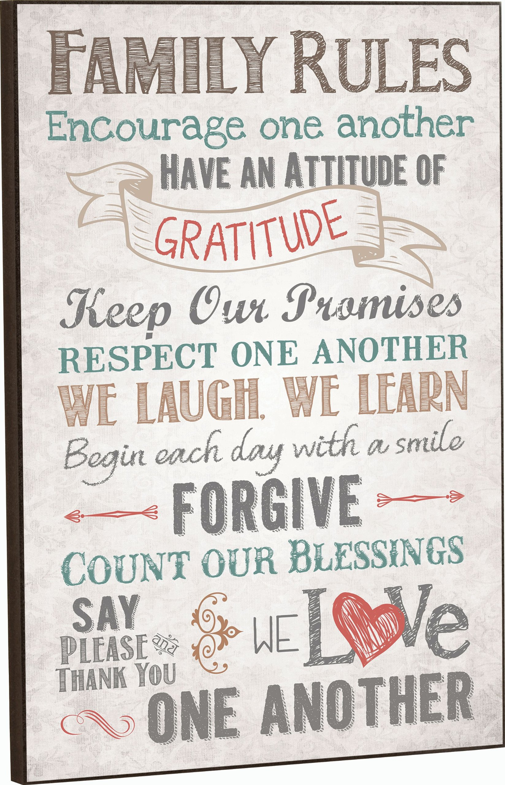 Family Rules Decorative Wall Plaque - 12.0'' x 16.0'' - Made in USA