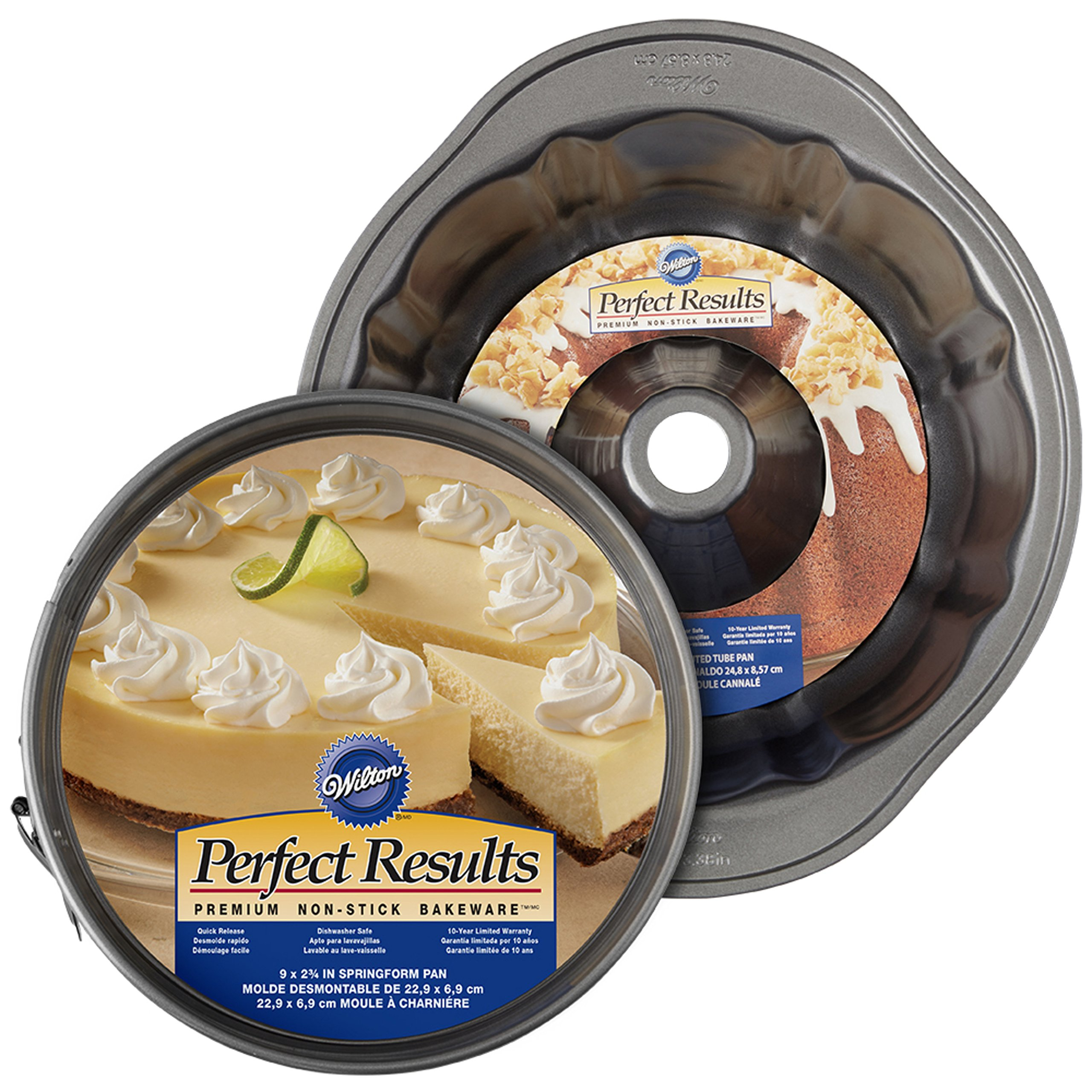 Wilton 2104-3675 Perfect Results Non-Stick Fluted Tube and Springform Pan Brunch Set, 2-Piece