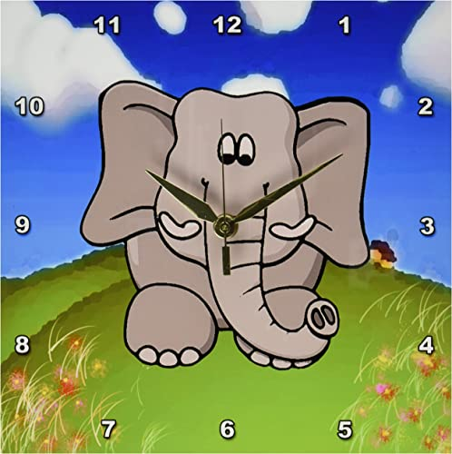 3dRose LLC Elephant Who Loves to Explore Wall Clock, 10 by 10-Inch