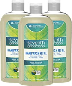 Seventh Generation Hand Wash Refills, Free & Clean Unscented, 24 oz, Pack of 3