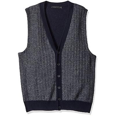 Bugatchi Men's Regular Fit V-Neck Sweater Vest, Navy, M at Men's Clothing store