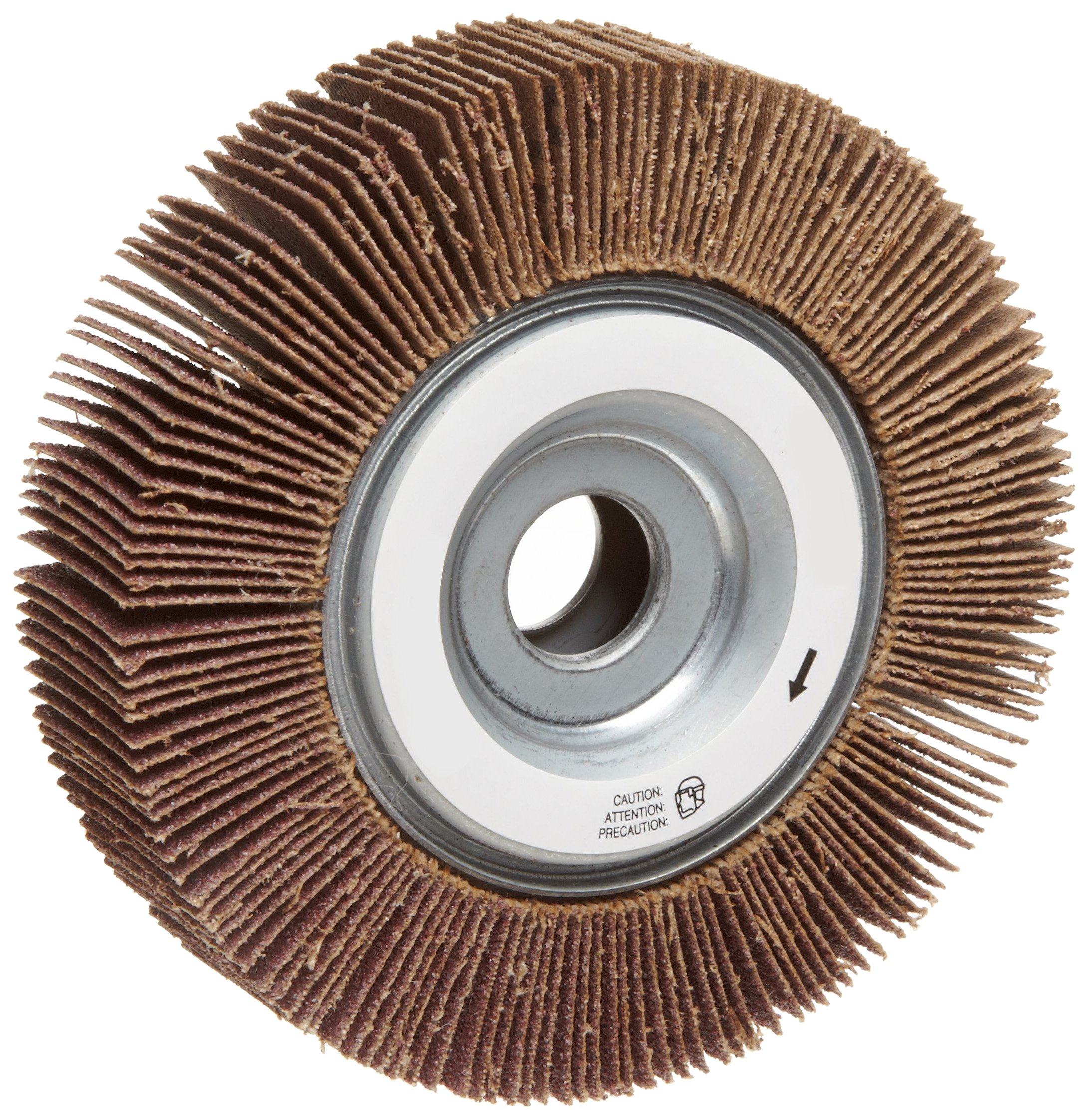 Norton Metalite R265 Abrasive Flap Wheel, 5/8'' Arbor, Round Hole, Aluminum Oxide, 4'' Dia., 1'' Face Width, Grit 120, 12000 Max RPM (Pack of 1)
