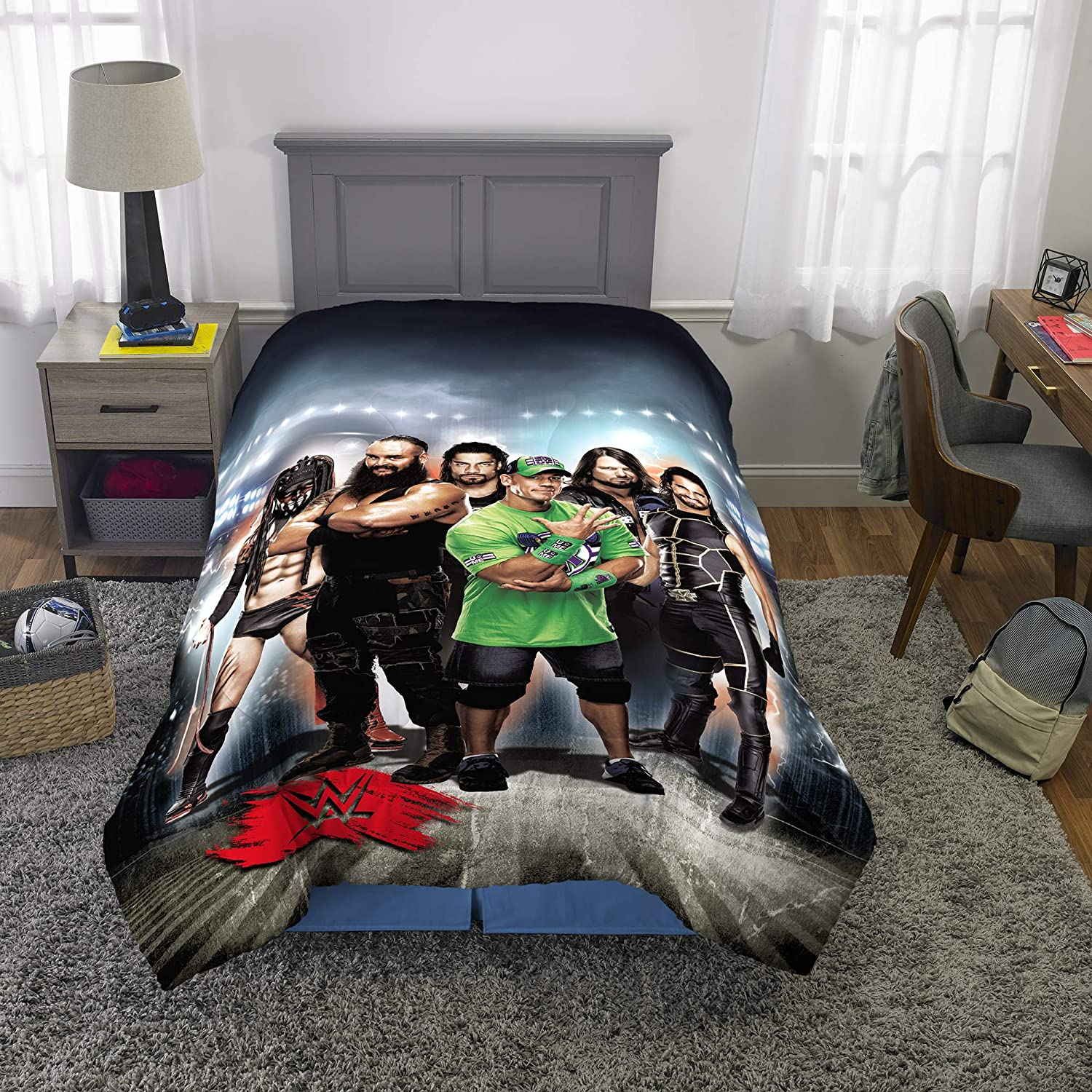 "Franco Kids Bedding Soft Microfiber Reversible Comforter, Twin/Full Size 72"" x 86"", WWE Super Stars"