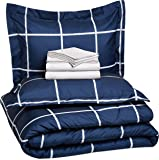AmazonBasics 7-Piece Bed-In-A-Bag Comforter Bedding Set - Full or Queen, Navy Simple Plaid