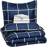 Amazon Basics - Juego completo de edredón para cama, 7 piezas, Completa/Queen Size, XL