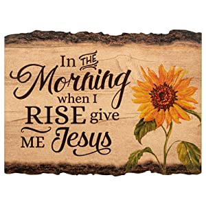 P. Graham Dunn in The Morning When I Rise Give Me Jesus Sunflower 9 x 12 Wood Bark Edge Design Wall Art Sign