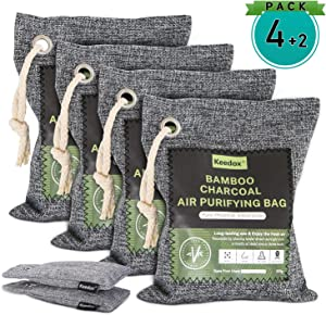 Keedox Air Purifier Bags (6-Pack Variety), Activated Charcoal Odor Absorber, Natural Air Refresher Removes Odors and Moisture, Nature Fresh Air Purifier for Car, Fridge, Shoes