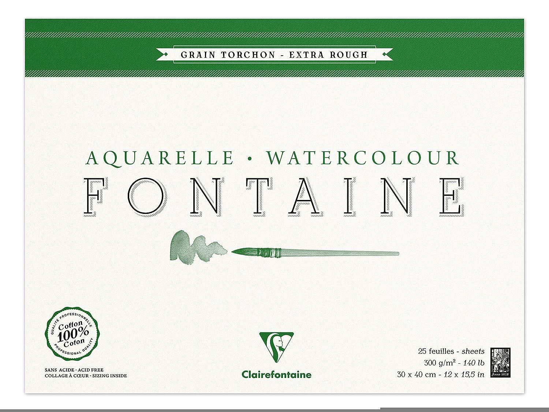 Clairefontaine 96430C Malblock, 4-seitig verleimt Aquarellpapier Grobkorn Torchon, Fontaine Fontaine Fontaine Hadern, 30 x 40 cm, 25 Blatt, 300 g Packung, weiß B000KT91VA | Überlegene Qualität  | Sehr gute Farbe  | Berühmter Laden  2e8054