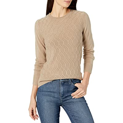 Sag Harbor Women's Long Sleeve Crew Neck Cable Front Pullover at Amazon Women's Clothing store