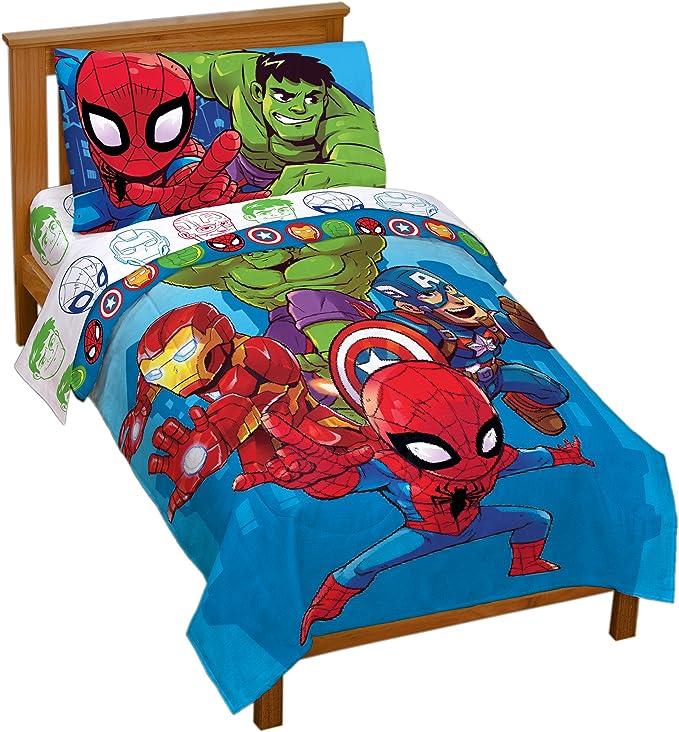 Marvel Super Heroes  4 Piece Toddler Bed Set – Super Soft Microfiber