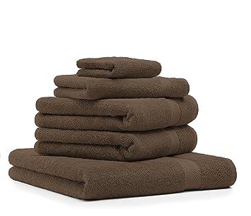 BETZ 5 Piezas Set Toallas 1 Toalla de Ducha 2 Toallas de Mano 1 Toalla Invitados 1 manopla de baño Color marrón: Amazon.es: Hogar