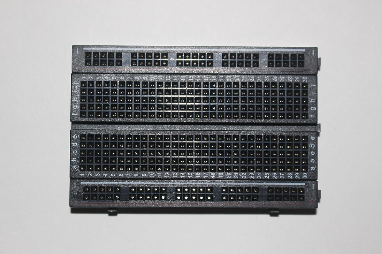 400 tie-points Cixi 4 power rails BLACK Solderless breadboard
