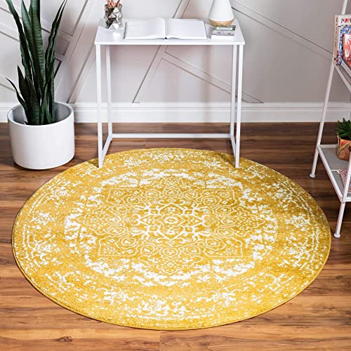 Rugs.com Arlington Collection Rug 5 Ft Round Yellow Medium-Pile Rug Perfect
