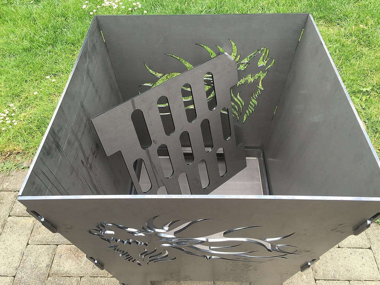 Massiv und Schwer Feuerstelle Feuertonne, Terma Stahldesign Feuerkorb rostig Motiv Hirsch R/öhrend H/öhe 60 cm Feuerschale