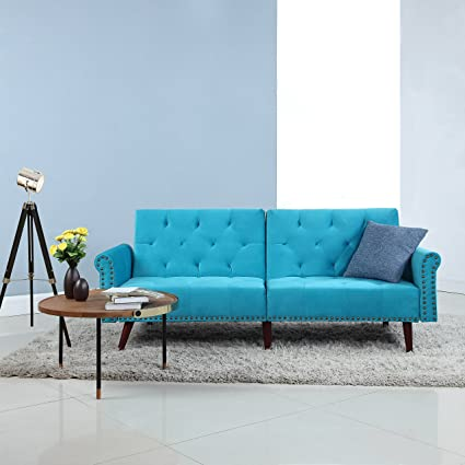 Divano Roma Furniture Modern Tufted Velvet Splitback Recliner Sleeper Futon  Sofa With Nailhead Trim (Blue