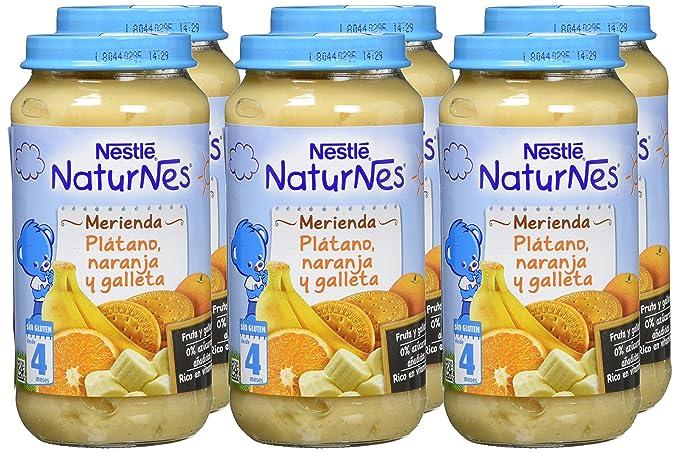 NESTLÉ Purés Merienda, tarrito de puré de fruta y galleta sin gluten, variedad Plátano, Naranja y Galleta, para bebés a partir de 4 meses - Paquete de 6 ...