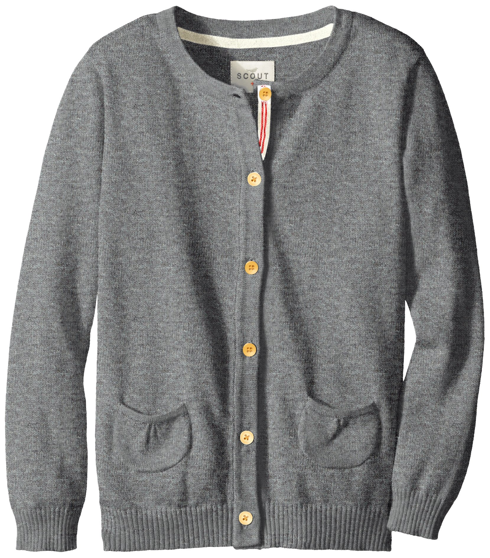 Scout + Ro Big Girls' Button-Front Cardigan Sweater, Storm Heather, 8