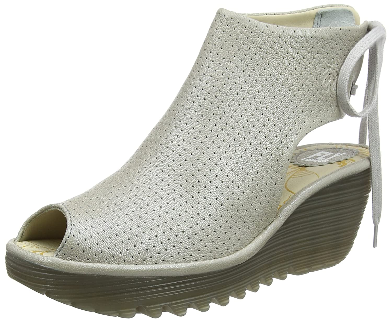 FLY London Womens Ypul Nubuck Wedge Heel Open Toe Platform Summer Sandal B077C3D7HX UK6 EU39 US8/8.5|Silver