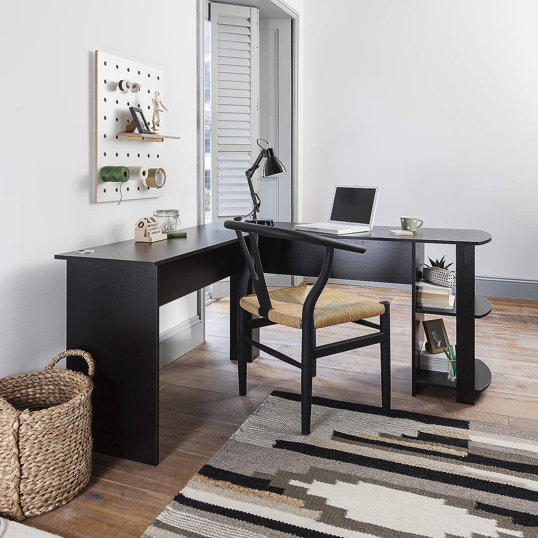 Grande Angolo del Tavolo con 2/Ripiani per casa e Ufficio Black Laura James A Forma di L Ufficio scrivania