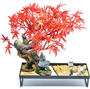 GET CHAKRAED Japanese Zen Garden with Red Maple Bonsai Tree Set with Sand, Beach Pebbles, Fine Quartz, Sand Rock, Bamboo Rake, Meditation Buddha, Stone Lantern - Relaxation Home and Office Sand Garden