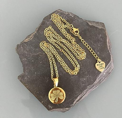 Collar de trébol en acero inoxidable chapado en oro, collar ...