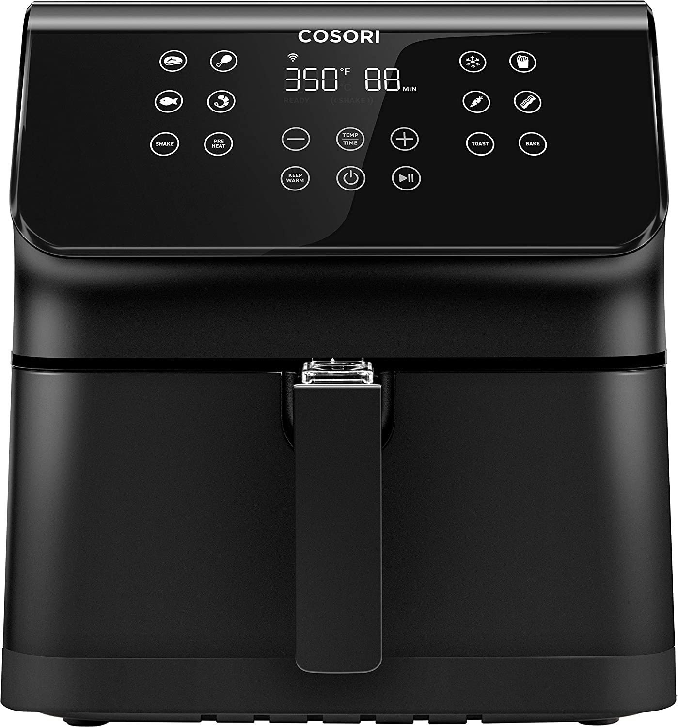 COSORI Smart Air Fryer Oven 5.8QT with Cookbook(100 Recipes) Wi-Fi App & Alexa Control/Google home, Customizable 10 Presets & Shake Reminder, Keep Warm Preheat, Nonstick Removable Basket, Black
