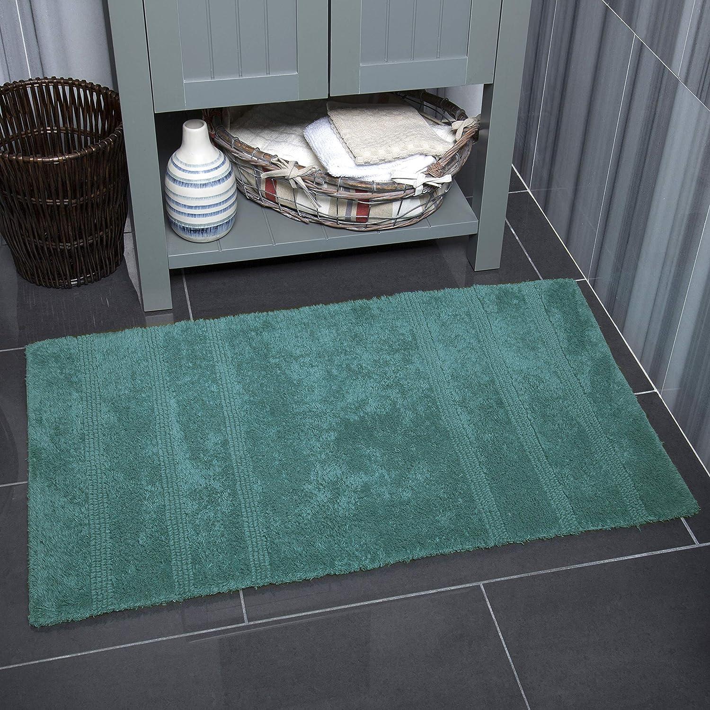 "Home Dynamix Nicole Miller Newton Reversible Cut & Loop Stripe 2-Piece Cotton Bath Mat Set, 17""x24""/21""x34"" Dark Teal"
