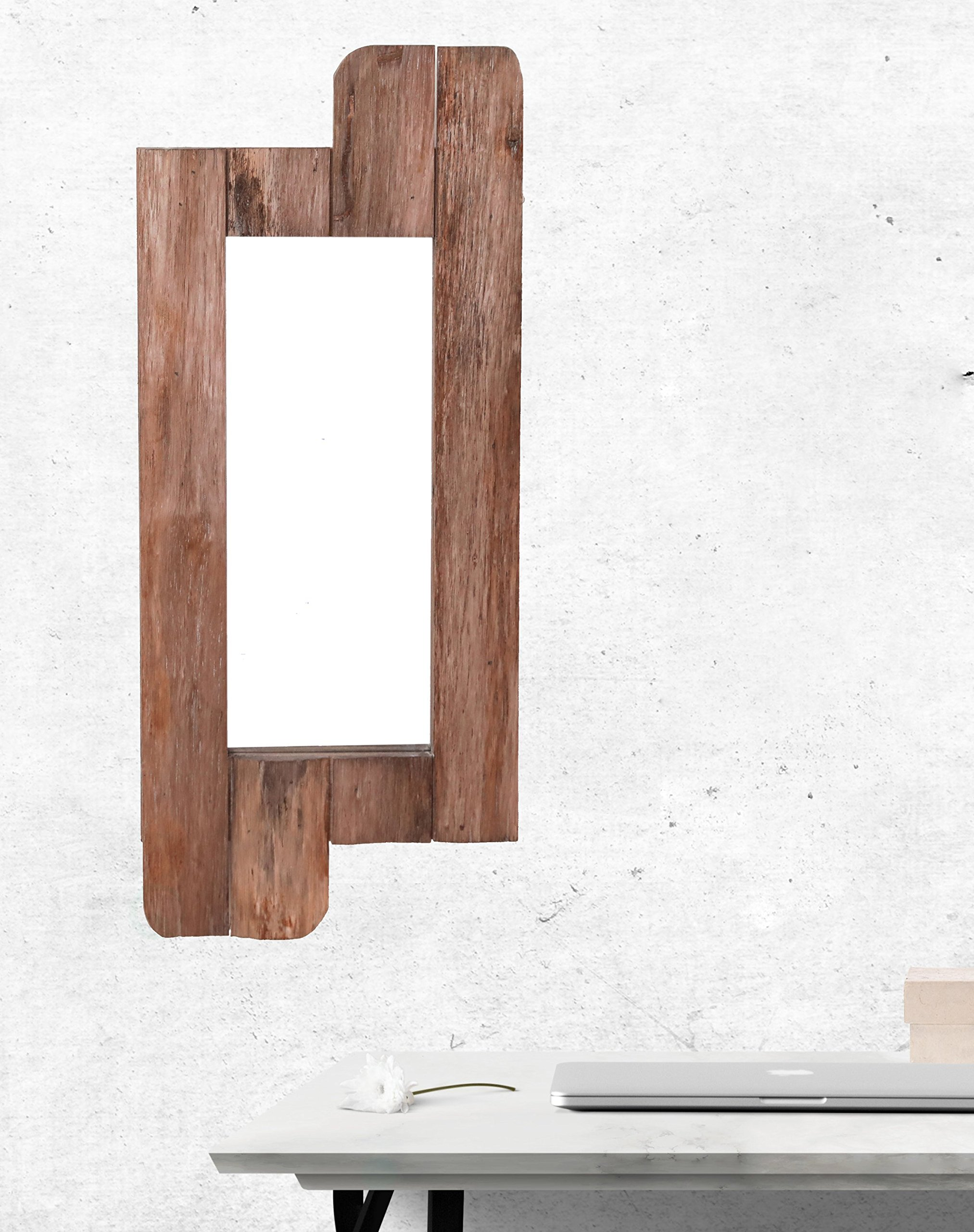 Vintiquewise QI003368.S 28'' High Rustic Natural Barn Wood Framed Wall Mirror by Vintiquewise (Image #2)