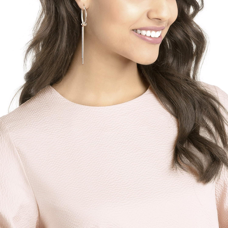 7a0afd3c24b6c Swarovski Lifelong Hoop Pierced Earrings, White, Rose gold plating