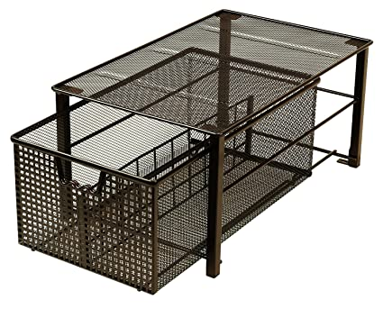 DecoBros Mesh Cabinet Basket Organizer, Bronze (Large   10 X 15.8 X 7.5)