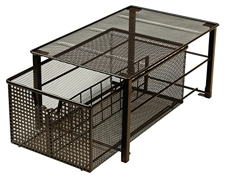 Amazon.com: DecoBros Mesh Cabinet Basket Organizer, Bronze (Large ...