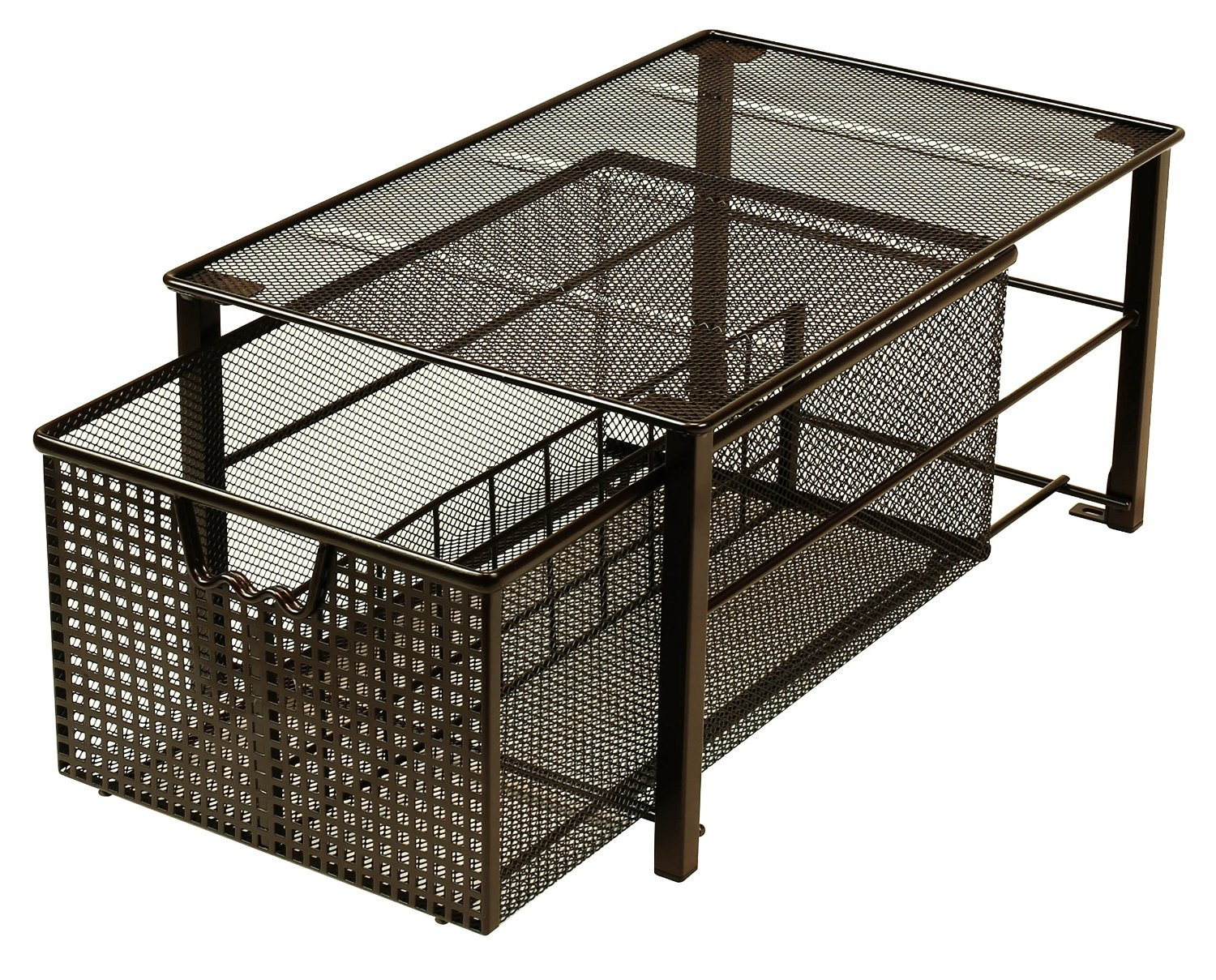 DecoBros Mesh Cabinet Basket Organizer, Bronze (Large - 10 x 15.8 x 7.5) - Stackable Design for one medium + one large or two large (two medium aren't allow to be stackable) Removable Split Card help you to group items Slide the basket out to easily access sauces and spices - shelves-cabinets, bathroom-fixtures-hardware, bathroom - 91YZqm4yGeL -