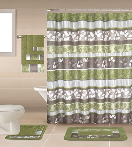 Amazoncom 18 Piece Geometricfloral Designs Banded Shower Curtain